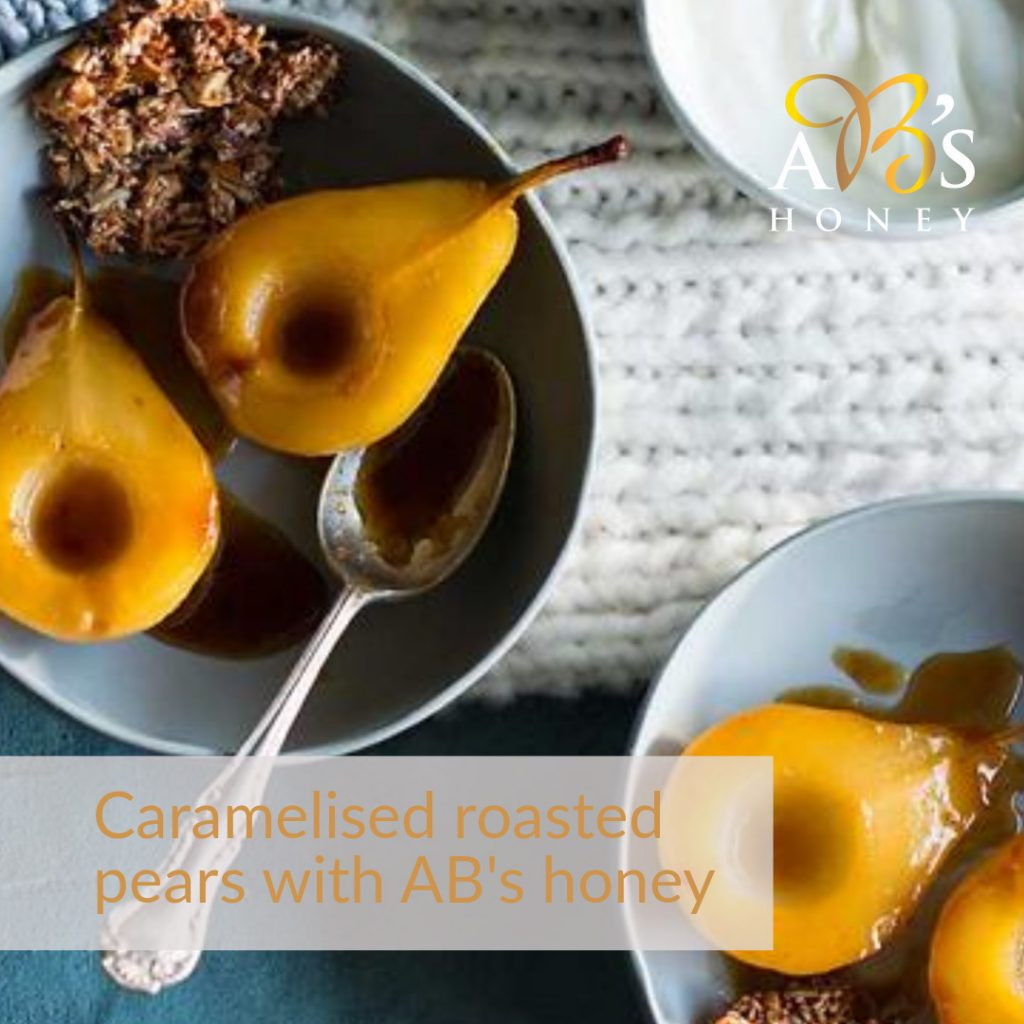 Caramelised Honey Pear Recipe with AB's Honey - Honey Glazed Pears