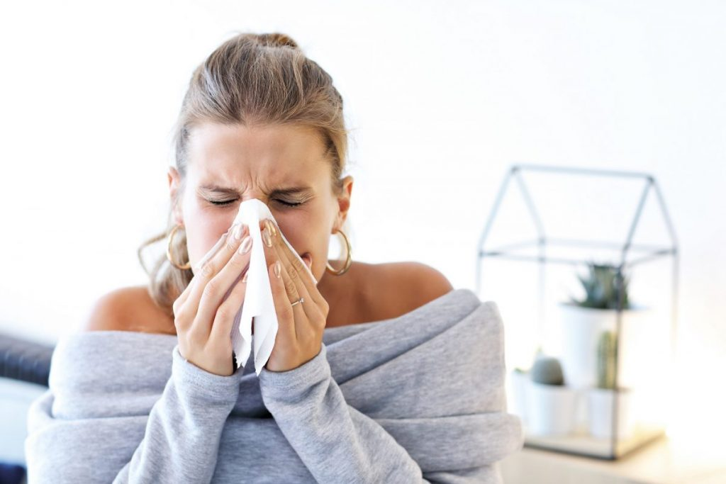 lady with flu